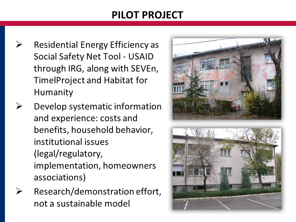 PROJECT OBJECTIVES A.Develop and test market-based models for energy efficient upgrades in collective apartment buildings B.Improve management of collective apartment buildings C.Facilitate investment, entrepreneurship and job creation on energy efficiency D.Foster a broad-based societal platform that affirms energy efficient consumption of clean energy and advocates for efficient and targeted state involvement in the housing sector
