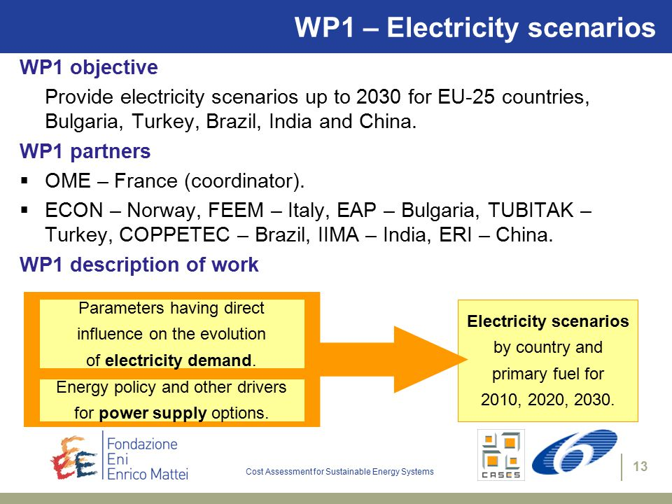 Cost Assessment for Sustainable Energy Systems 13 WP1 – Electricity scenarios WP1 objective Provide electricity scenarios up to 2030 for EU-25 countries, Bulgaria, Turkey, Brazil, India and China.