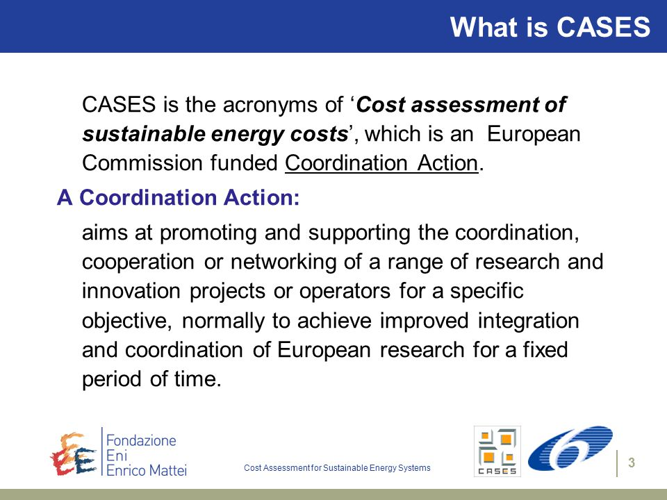 Cost Assessment for Sustainable Energy Systems 3 What is CASES CASES is the acronyms of 'Cost assessment of sustainable energy costs', which is an European Commission funded Coordination Action.