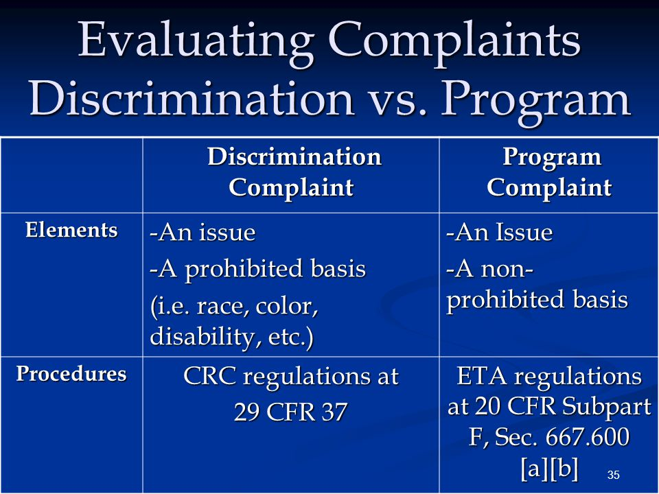 35 Evaluating Complaints Discrimination vs.
