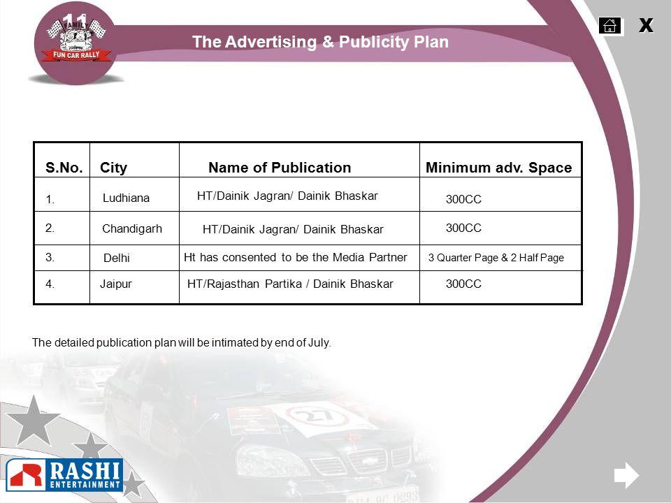 The Advertising & Publicity Plan X X S.No.CityName of PublicationMinimum adv.