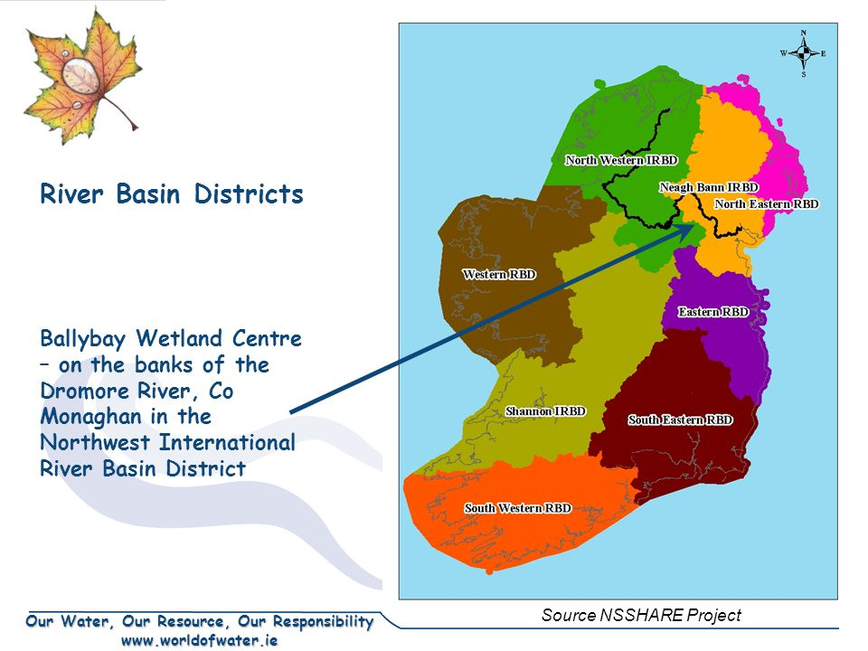 Our Water, Our Resource, Our Responsibility www.worldofwater.ie River Basin Districts Ballybay Wetland Centre – on the banks of the Dromore River, Co Monaghan in the Northwest International River Basin District Source NSSHARE Project