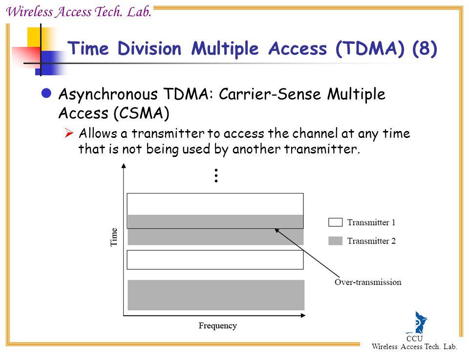 Wireless Access Tech. Lab. CCU Wireless Access Tech. Lab. Asynchronous TDMA: Carrier-Sense Multiple Access (CSMA)  Allows a transmitter to access the