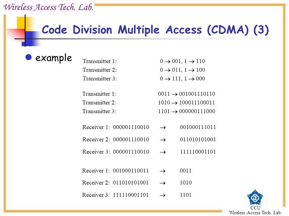 Wireless Access Tech. Lab. CCU Wireless Access Tech. Lab. example Code Division Multiple Access (CDMA) (3)