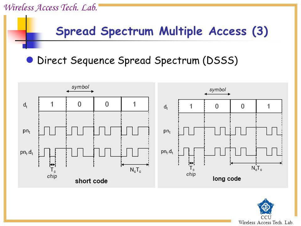 Wireless Access Tech. Lab. CCU Wireless Access Tech. Lab. Spread Spectrum Multiple Access (3) Direct Sequence Spread Spectrum (DSSS)