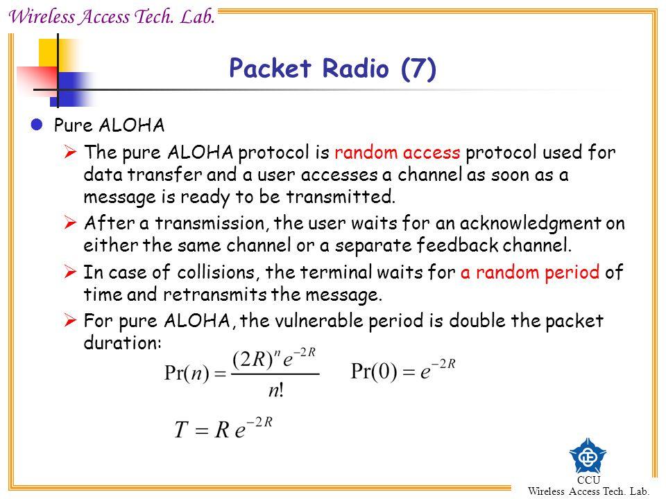 Wireless Access Tech. Lab. CCU Wireless Access Tech. Lab. Packet Radio (7) Pure ALOHA  The pure ALOHA protocol is random access protocol used for dat