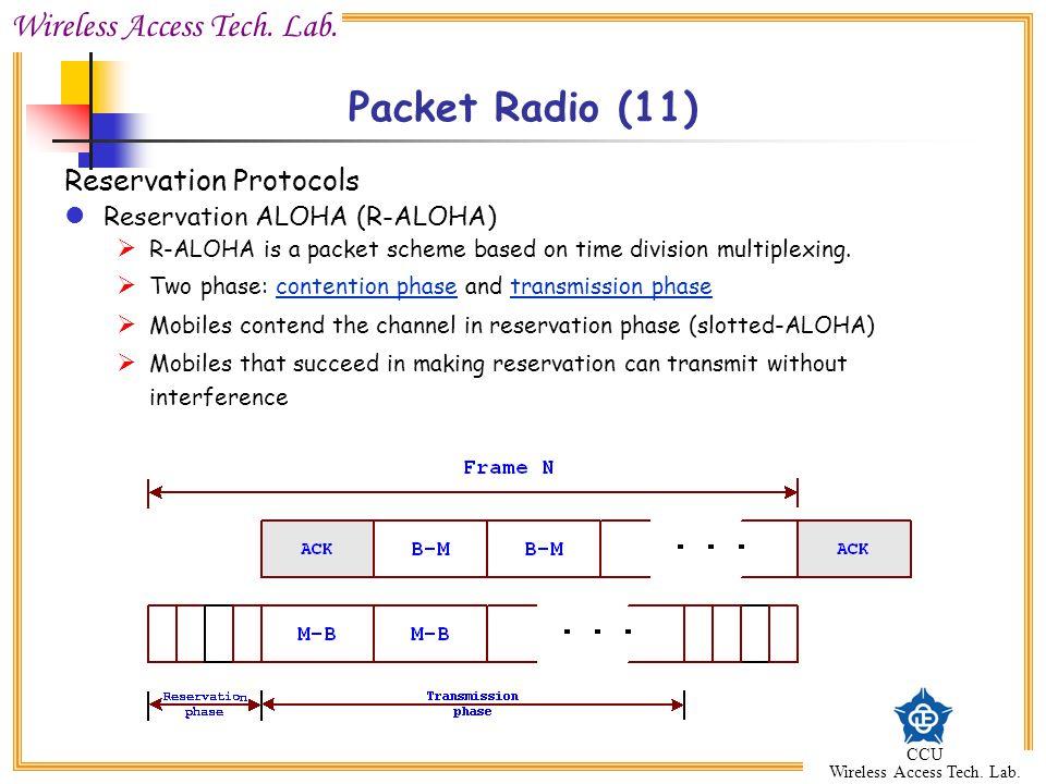 Wireless Access Tech. Lab. CCU Wireless Access Tech. Lab. Packet Radio (11) Reservation Protocols Reservation ALOHA (R-ALOHA)  R-ALOHA is a packet sc