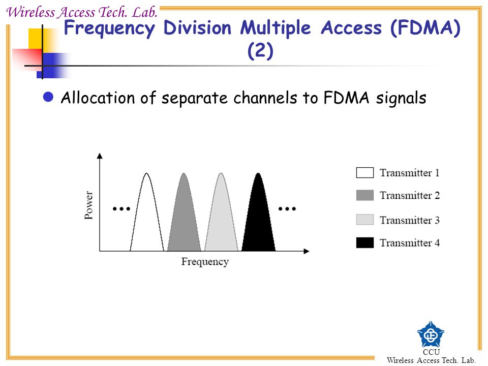 Wireless Access Tech. Lab. CCU Wireless Access Tech. Lab. Frequency Division Multiple Access (FDMA) (2) Allocation of separate channels to FDMA signal