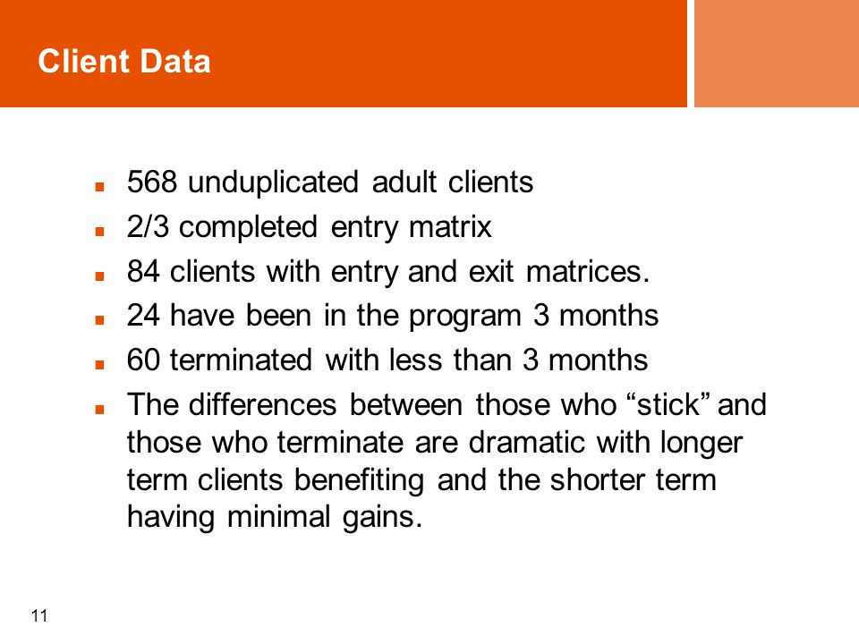 11 Client Data 568 unduplicated adult clients 2/3 completed entry matrix 84 clients with entry and exit matrices. 24 have been in the program 3 months