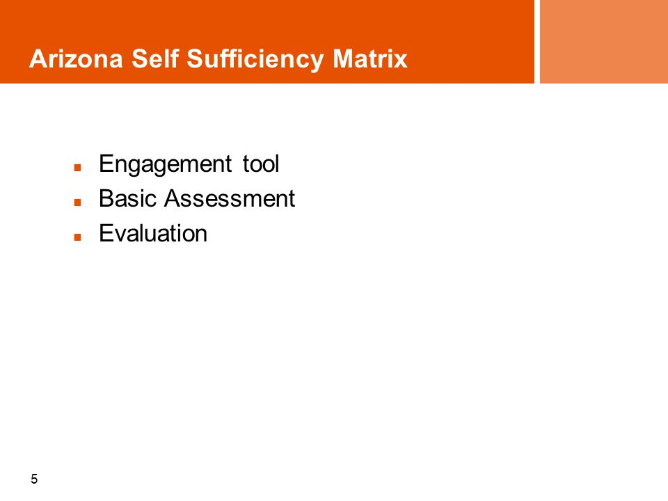 5 Arizona Self Sufficiency Matrix Engagement tool Basic Assessment Evaluation