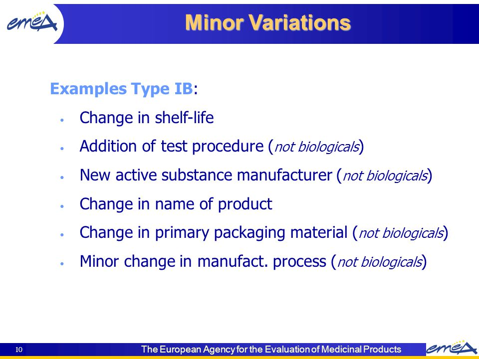 The European Agency for the Evaluation of Medicinal Products 10 Minor Variations Examples Type IB: Change in shelf-life Addition of test procedure ( not biologicals ) New active substance manufacturer ( not biologicals ) Change in name of product Change in primary packaging material ( not biologicals ) Minor change in manufact.