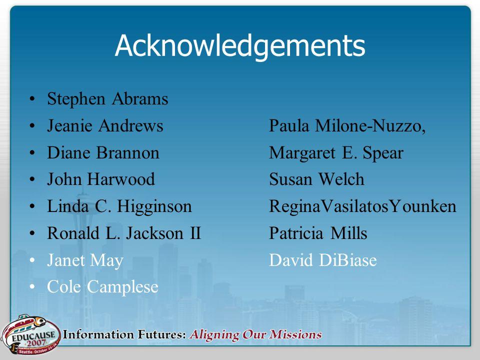 Acknowledgements Stephen Abrams Jeanie AndrewsPaula Milone-Nuzzo, Diane BrannonMargaret E.