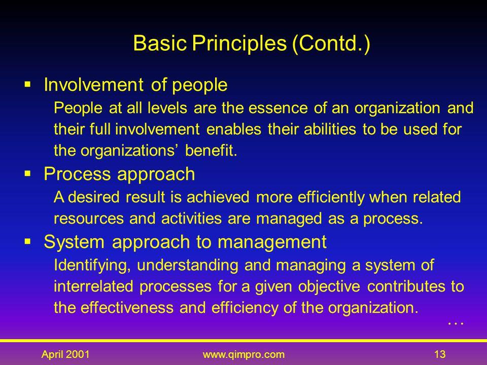 April 2001www.qimpro.com13  Involvement of people People at all levels are the essence of an organization and their full involvement enables their abilities to be used for the organizations' benefit.