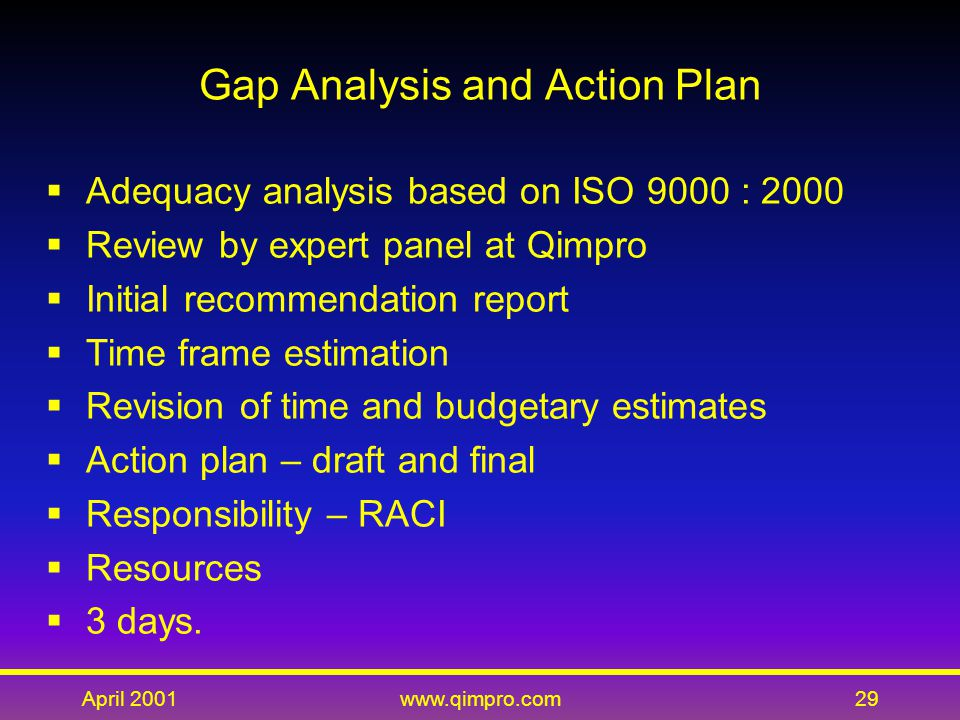 April 2001www.qimpro.com29 Gap Analysis and Action Plan  Adequacy analysis based on ISO 9000 : 2000  Review by expert panel at Qimpro  Initial recommendation report  Time frame estimation  Revision of time and budgetary estimates  Action plan – draft and final  Responsibility – RACI  Resources  3 days.