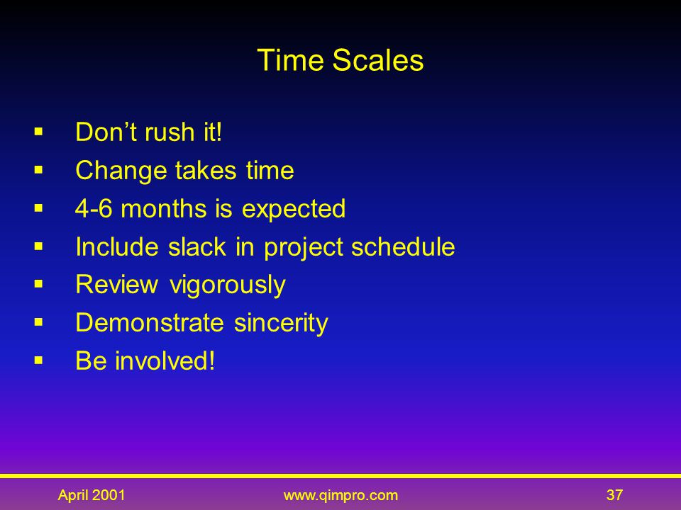 April 2001www.qimpro.com37 Time Scales  Don't rush it.