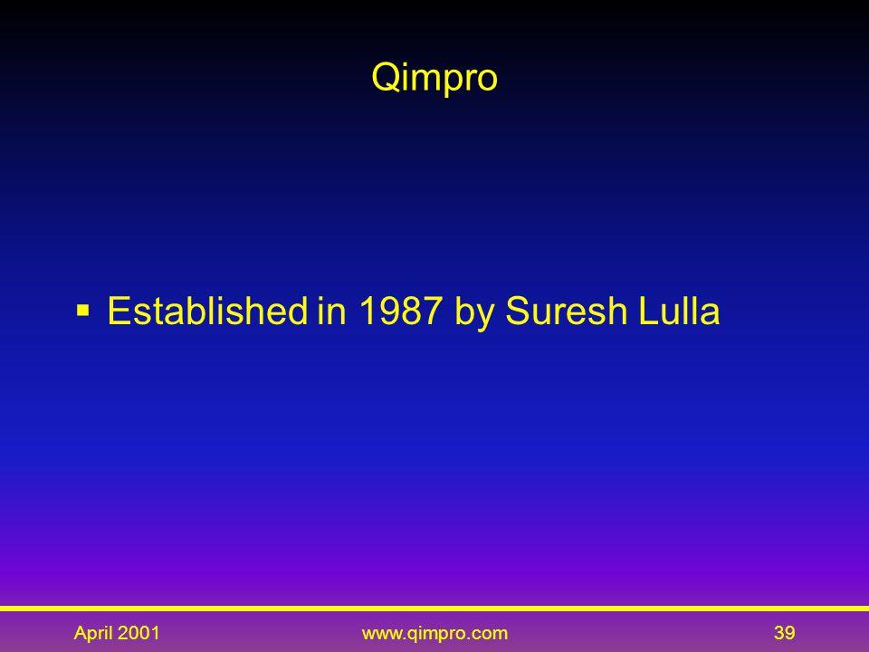 April 2001www.qimpro.com39 Qimpro  Established in 1987 by Suresh Lulla