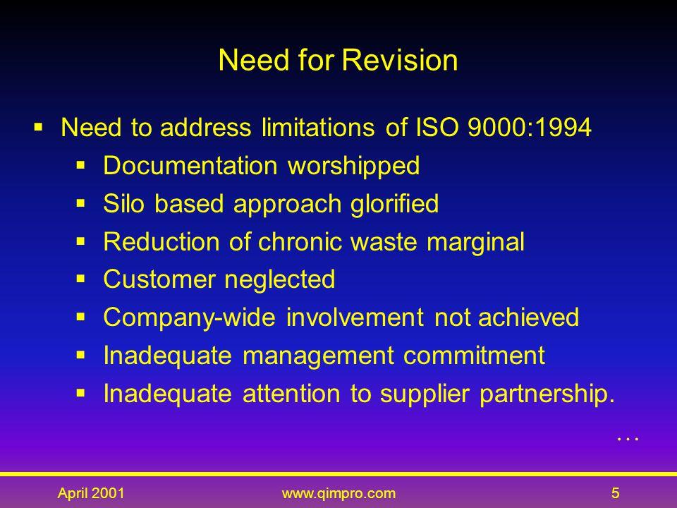 April 2001www.qimpro.com16 Revised Structure  Quality management system (2 elements)  Management responsibility (6 elements)  Resource management (4 elements)  Product realization (6 elements)  Measurement, analysis, and improvement (5 elements).