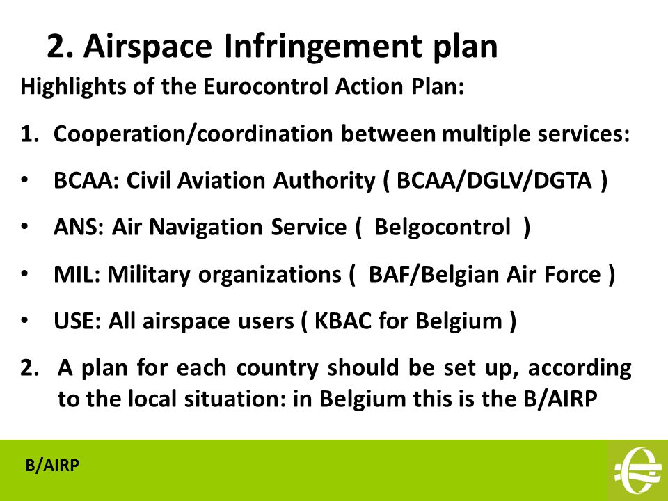 Highlights of the Eurocontrol Action Plan: 2.