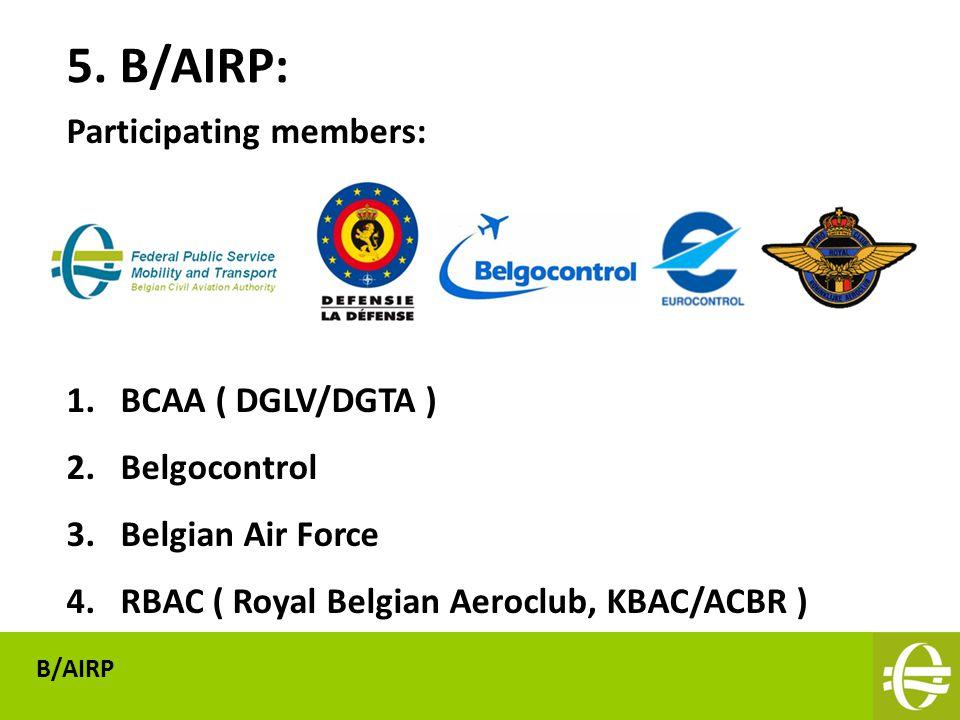 Participating members: 1.BCAA ( DGLV/DGTA ) 2.Belgocontrol 3.Belgian Air Force 4.RBAC ( Royal Belgian Aeroclub, KBAC/ACBR ) 5.
