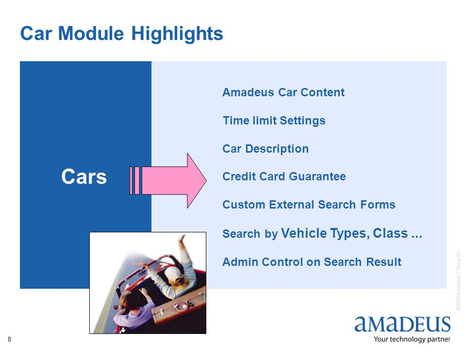 © 2006 Amadeus IT Group SA 8 Car Module Highlights Cars Amadeus Car Content Time limit Settings Car Description Credit Card Guarantee Custom External