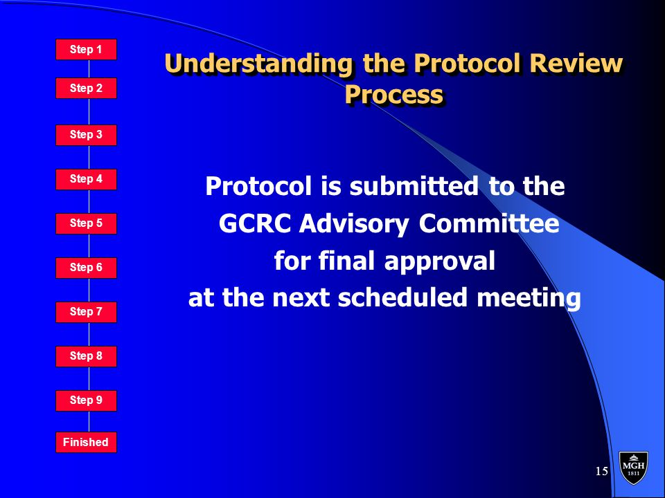 15 Understanding the Protocol Review Process Protocol is submitted to the GCRC Advisory Committee for final approval at the next scheduled meeting Protocol is submitted to the GCRC Advisory Committee for final approval at the next scheduled meeting Step 1 Step 2 Step 3 Step 4 Step 5 Step 6 Step 7 Step 8 Step 9 Finished