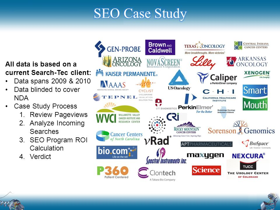 All data is based on a current Search-Tec client: Data spans 2009 & 2010 Data blinded to cover NDA Case Study Process 1.Review Pageviews 2.Analyze Incoming Searches 3.SEO Program ROI Calculation 4.Verdict