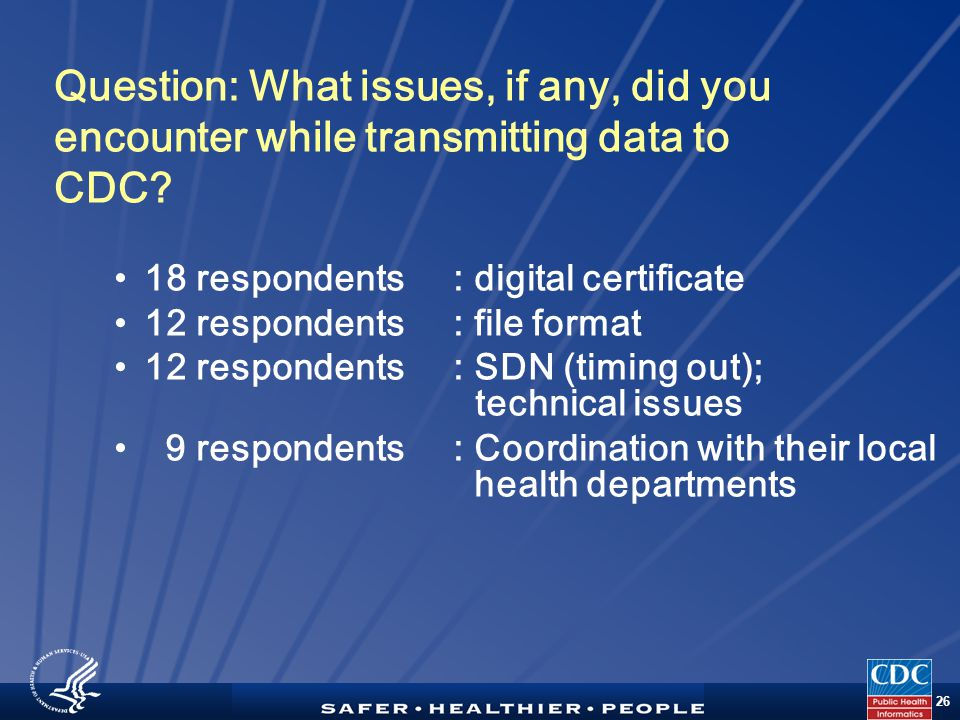 TM 26 Question: What issues, if any, did you encounter while transmitting data to CDC.