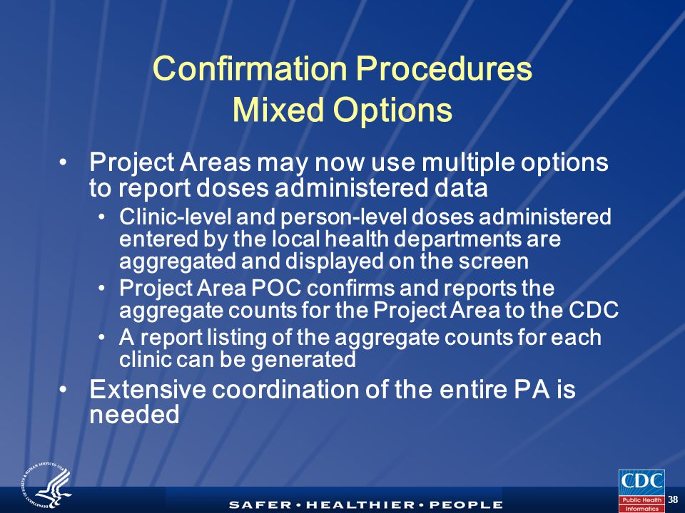TM 38 Confirmation Procedures Mixed Options Project Areas may now use multiple options to report doses administered data Clinic-level and person-level doses administered entered by the local health departments are aggregated and displayed on the screen Project Area POC confirms and reports the aggregate counts for the Project Area to the CDC A report listing of the aggregate counts for each clinic can be generated Extensive coordination of the entire PA is needed