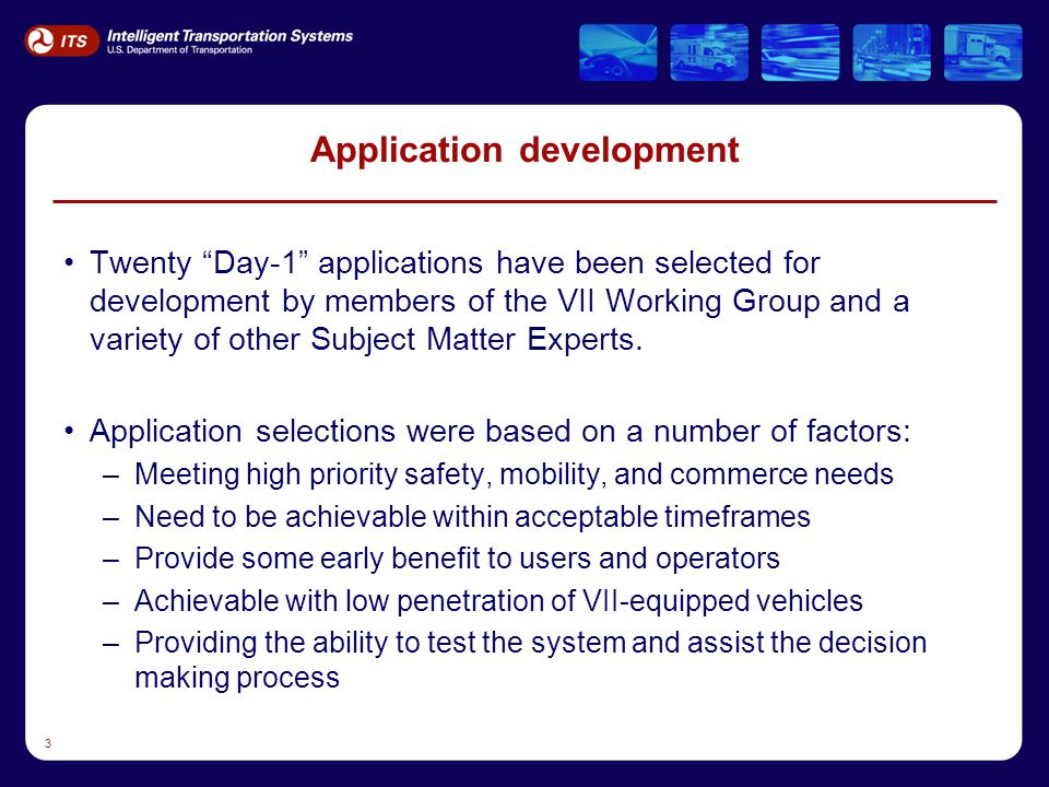 """3 Application development Twenty """"Day-1"""" applications have been selected for development by members of the VII Working Group and a variety of other Su"""