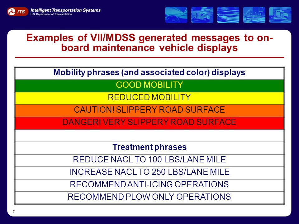 7 Examples of VII/MDSS generated messages to on- board maintenance vehicle displays Mobility phrases (and associated color) displays GOOD MOBILITY RED