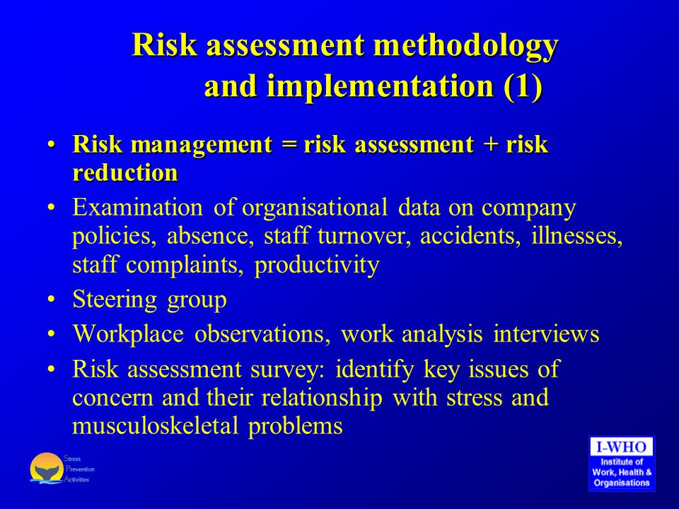 Risk assessment methodology and implementation (2) Issues of concern as reported by the majority of staff: work organisation (allocation of tasks, setting and dealing with priorities, clarity of job descriptions), workload and working hours (long and irregular working hours), communication of company situation and vision, staff development, open plan workspace layout in 3 branches