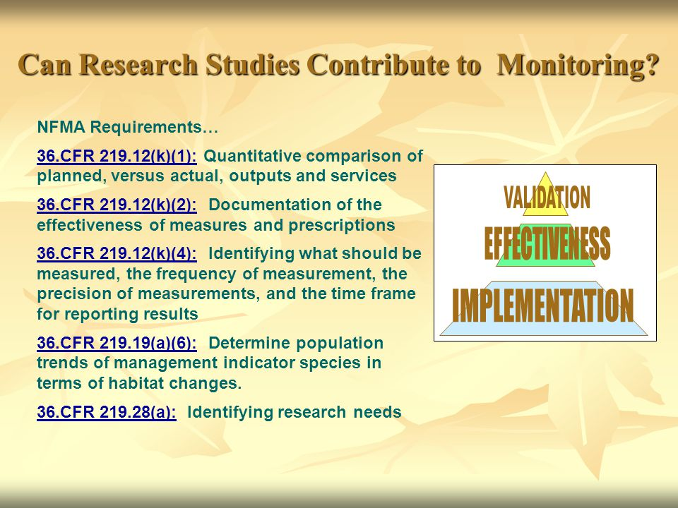 Can Research Studies Contribute to Monitoring.