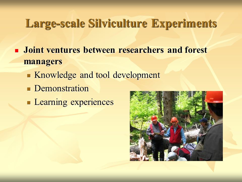 Large-scale Silviculture Experiments Joint ventures between researchers and forest managers Joint ventures between researchers and forest managers Knowledge and tool development Knowledge and tool development Demonstration Demonstration Learning experiences Learning experiences