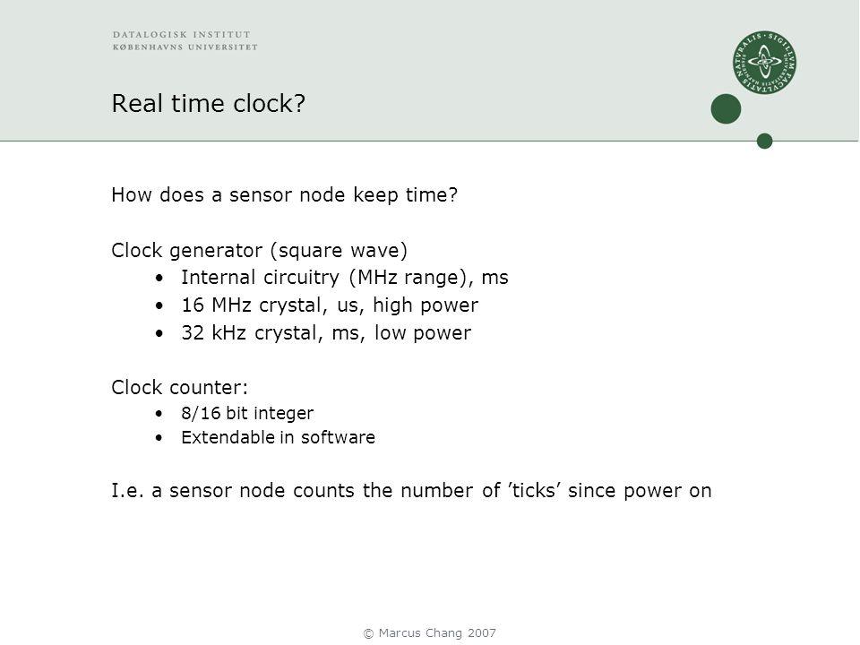 Real time clock. How does a sensor node keep time.