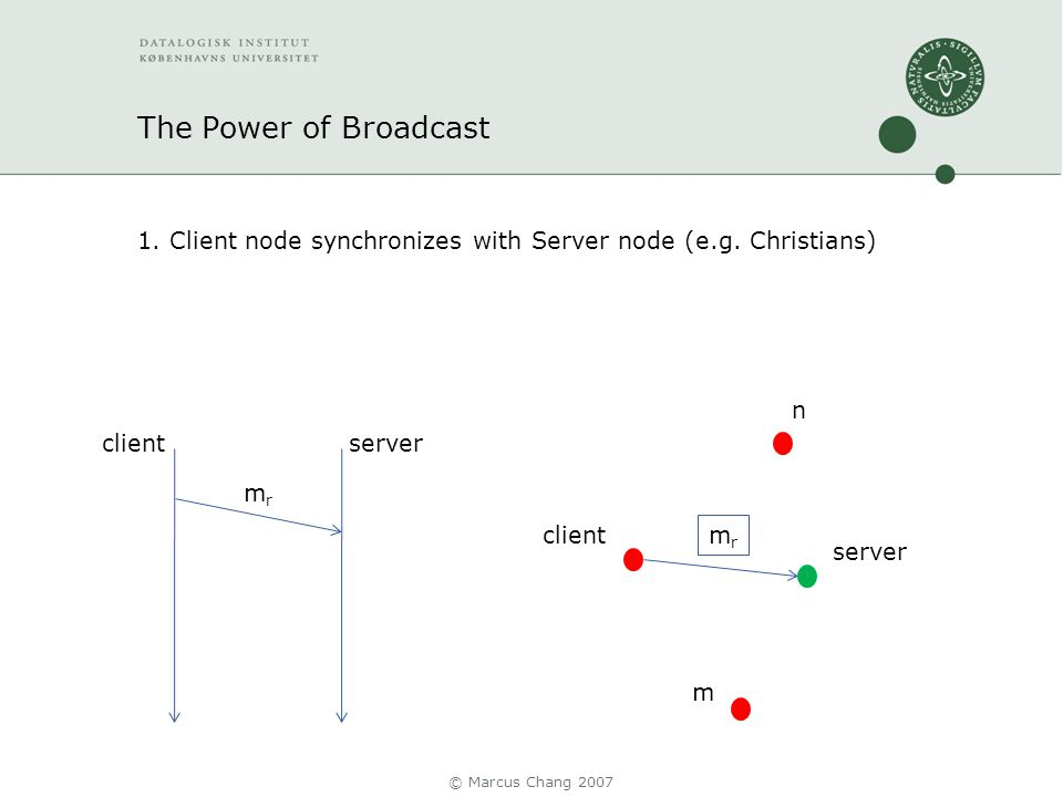 The Power of Broadcast 1. Client node synchronizes with Server node (e.g.