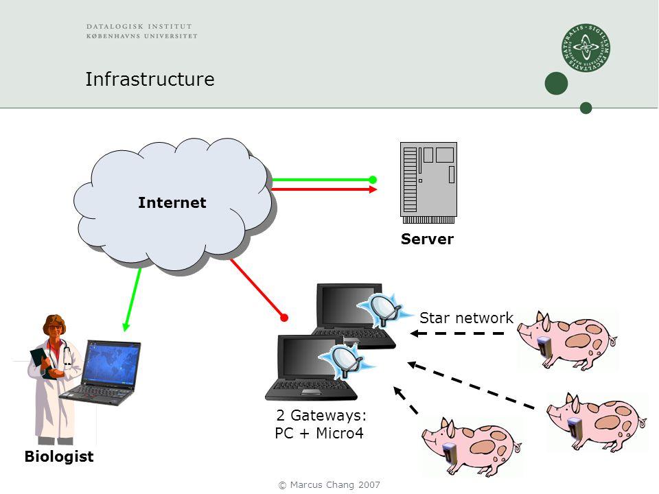 Infrastructure Server 2 Gateways: PC + Micro4 Internet Star network Biologist © Marcus Chang 2007