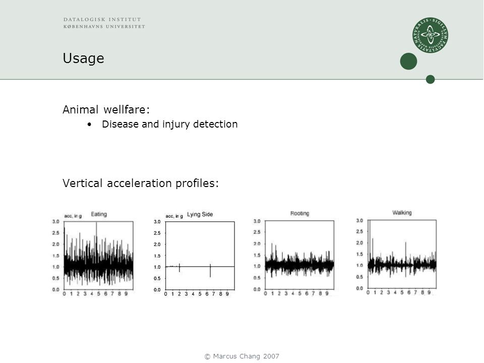 Usage Animal wellfare: Disease and injury detection Vertical acceleration profiles: © Marcus Chang 2007