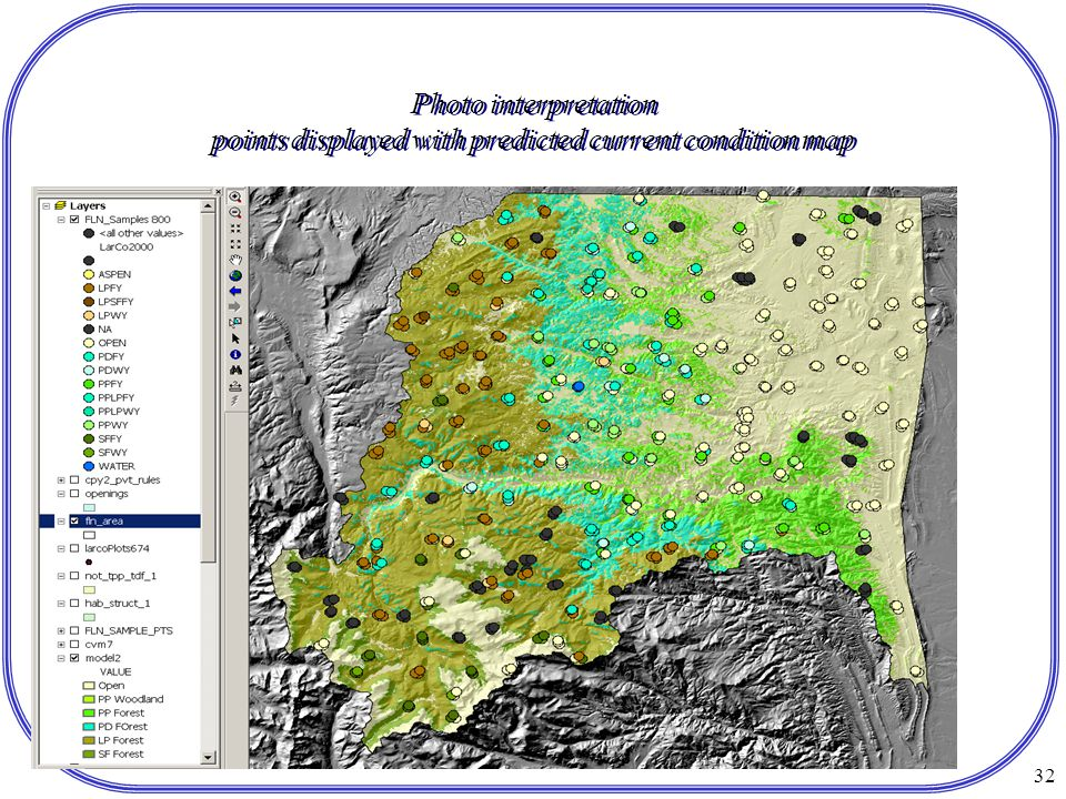 32 Photo interpretation points displayed with predicted current condition map