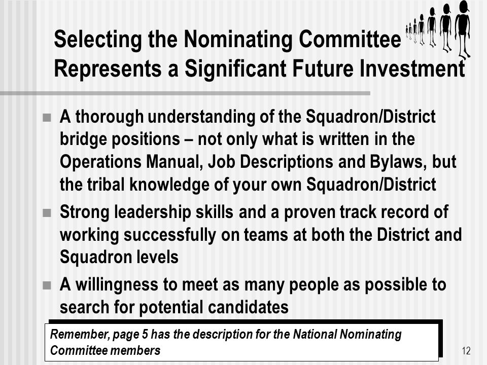 Selecting the Nominating Committee Represents a Significant Future Investment A thorough understanding of the Squadron/District bridge positions – not only what is written in the Operations Manual, Job Descriptions and Bylaws, but the tribal knowledge of your own Squadron/District Strong leadership skills and a proven track record of working successfully on teams at both the District and Squadron levels A willingness to meet as many people as possible to search for potential candidates 12 Remember, page 5 has the description for the National Nominating Committee members