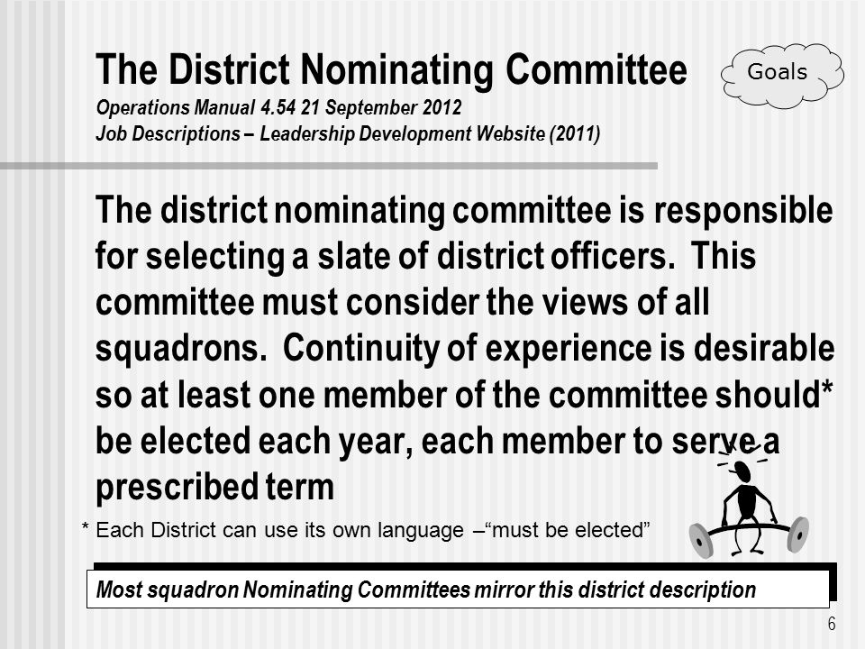 The District Nominating Committee Operations Manual 4.54 21 September 2012 Job Descriptions – Leadership Development Website (2011) The district nominating committee is responsible for selecting a slate of district officers.