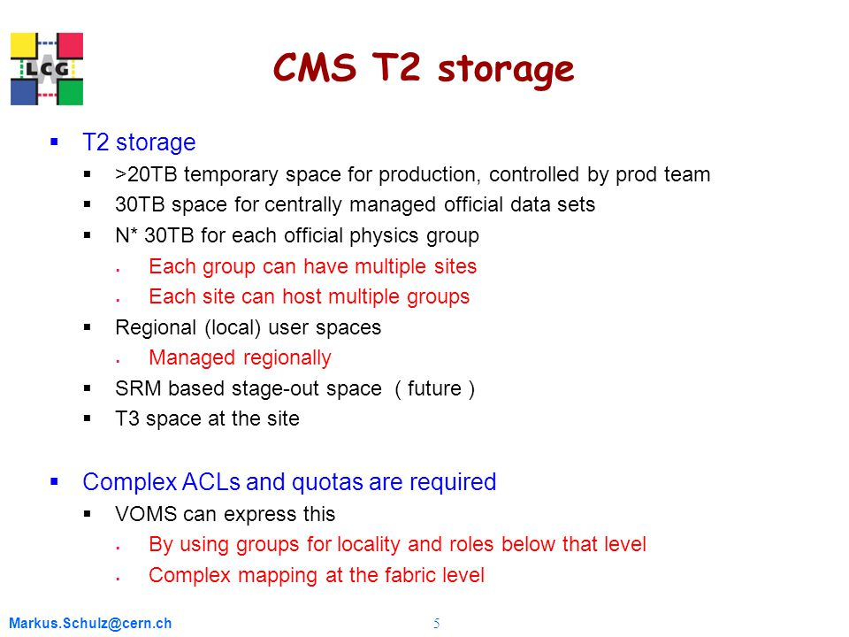 Markus.Schulz@cern.ch 5 CMS T2 storage  T2 storage  >20TB temporary space for production, controlled by prod team  30TB space for centrally managed official data sets  N* 30TB for each official physics group  Each group can have multiple sites  Each site can host multiple groups  Regional (local) user spaces  Managed regionally  SRM based stage-out space ( future )  T3 space at the site  Complex ACLs and quotas are required  VOMS can express this  By using groups for locality and roles below that level  Complex mapping at the fabric level
