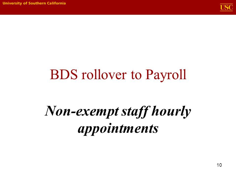 10 BDS rollover to Payroll Non-exempt staff hourly appointments