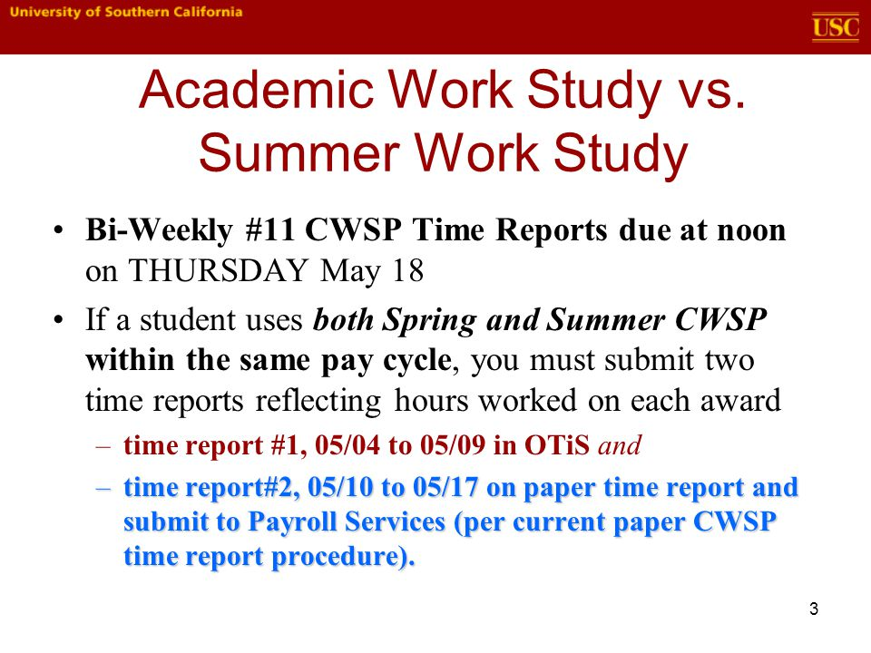 3 Academic Work Study vs.