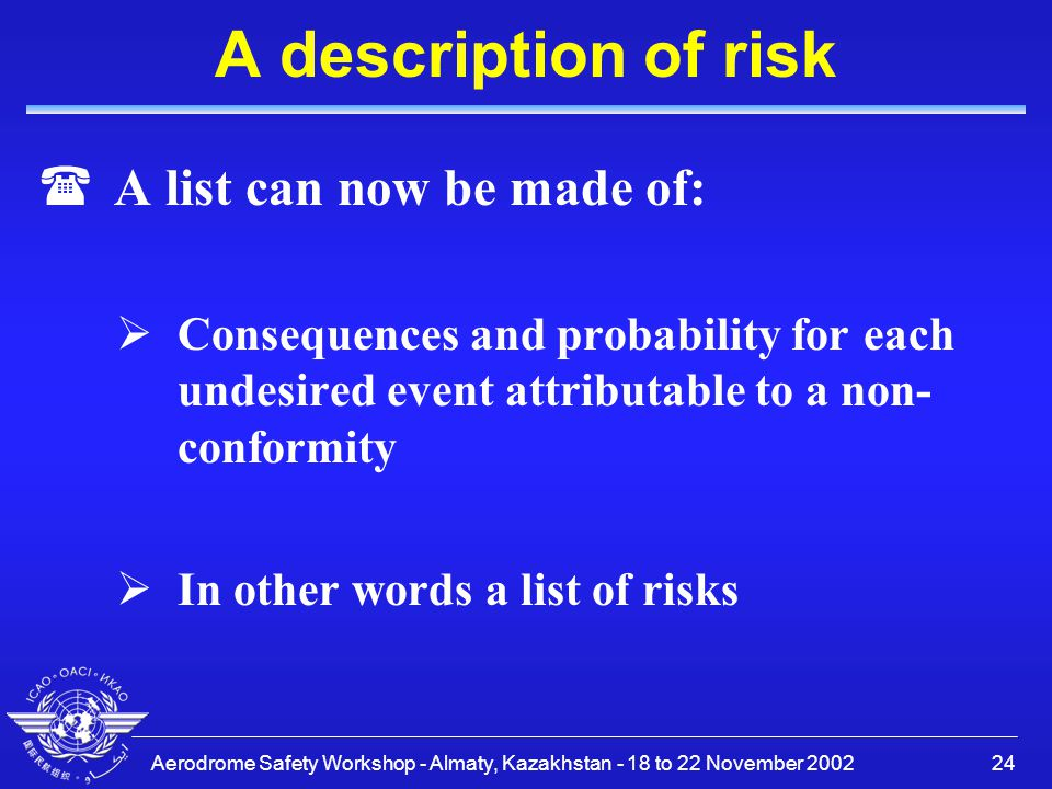 Aerodrome Safety Workshop - Almaty, Kazakhstan - 18 to 22 November 200224 A description of risk (A list can now be made of:  Consequences and probabi