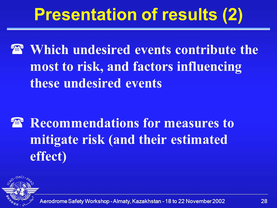 Aerodrome Safety Workshop - Almaty, Kazakhstan - 18 to 22 November 200228 Presentation of results (2) (Which undesired events contribute the most to r