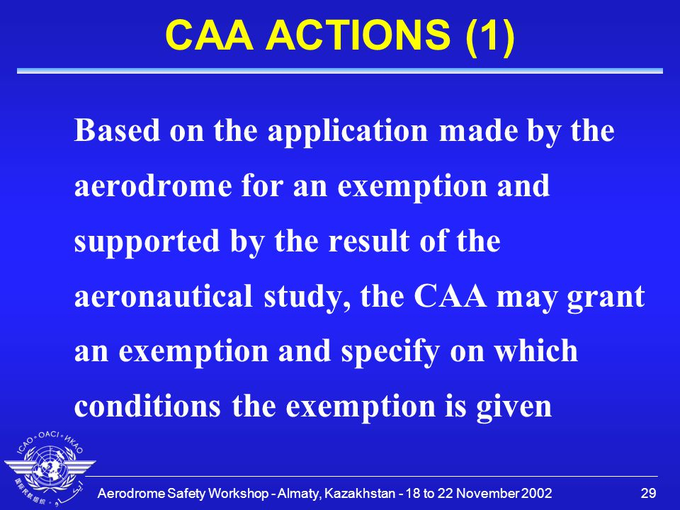 Aerodrome Safety Workshop - Almaty, Kazakhstan - 18 to 22 November 200229 CAA ACTIONS (1) Based on the application made by the aerodrome for an exempt
