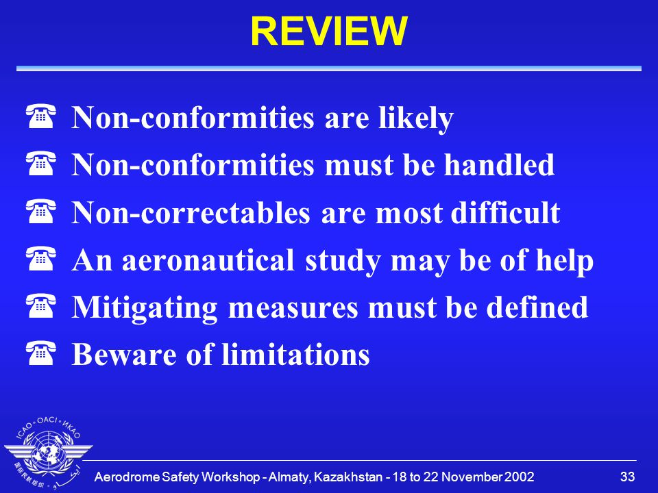 Aerodrome Safety Workshop - Almaty, Kazakhstan - 18 to 22 November 200233 REVIEW (Non-conformities are likely (Non-conformities must be handled (Non-c