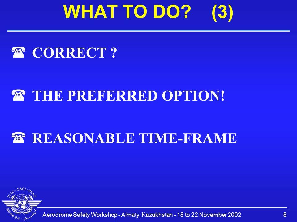 Aerodrome Safety Workshop - Almaty, Kazakhstan - 18 to 22 November 20029 WHAT TO DO.