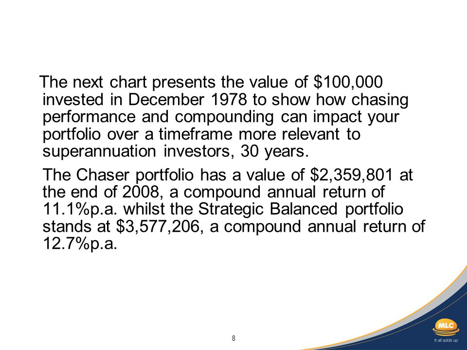 8 The next chart presents the value of $100,000 invested in December 1978 to show how chasing performance and compounding can impact your portfolio over a timeframe more relevant to superannuation investors, 30 years.