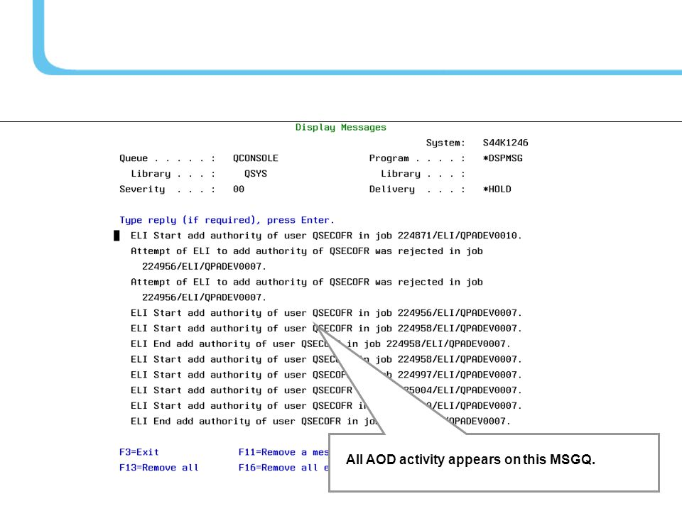 All AOD activity appears on this MSGQ.